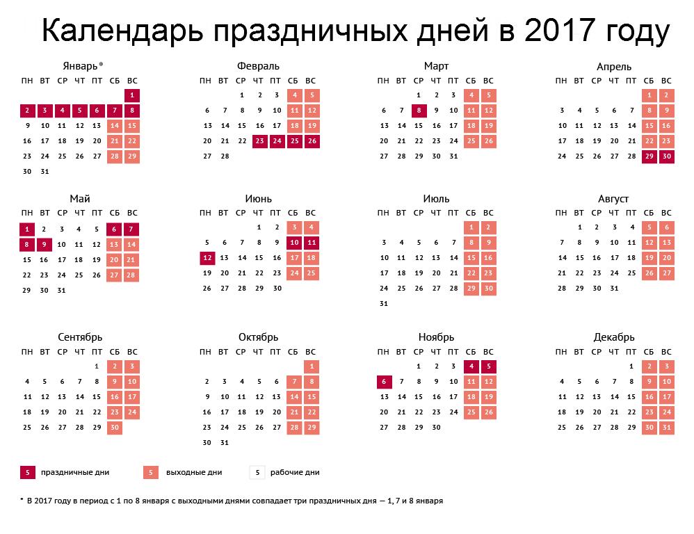 Календарь праздничных дней на 2017 год.