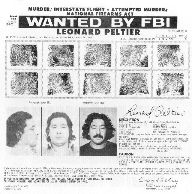 Ориентировка ФБР на Леонарда Пелтиера.