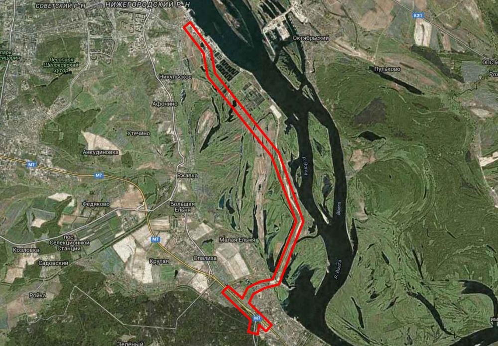 Границы территории под строительство Восточного обхода.