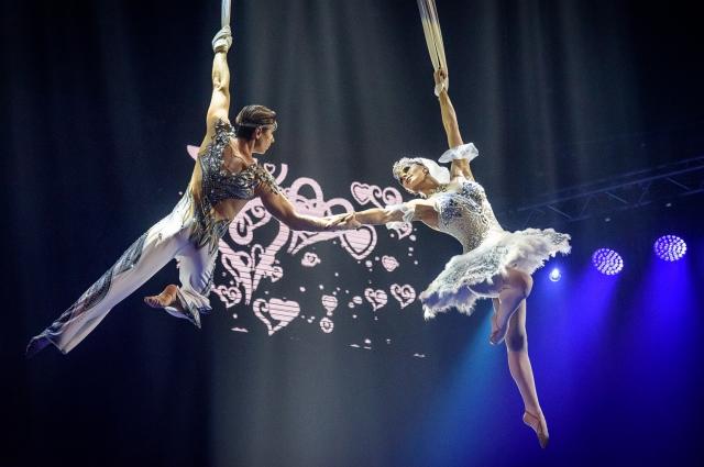 Грация и мастерство воздушных гимнастов завораживает.