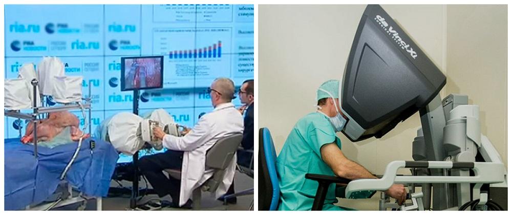 Слева - русский робот-хирург, справа - американский «Да Винчи».