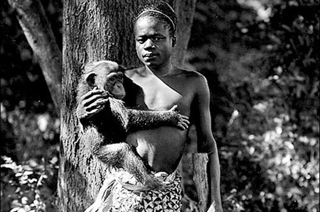 Ота Бенга в зоопарке Бронкса в Нью-Йорке в 1906 году.
