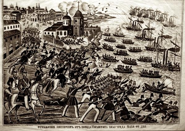 Российская гравюра, изображающая первую попытку осады