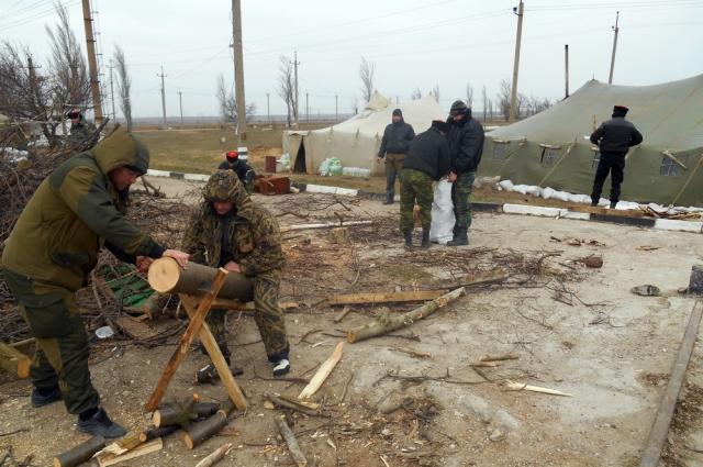Казаки пилят дрова для обогрева возле блокпоста.