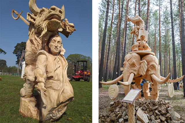 Справа - скульптура Кровь и песок, слева -
