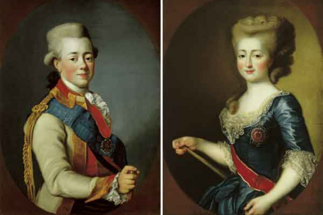 Мария Фёдоровна и Павел I. Картина Гаврилы Скородумова, 1782 год