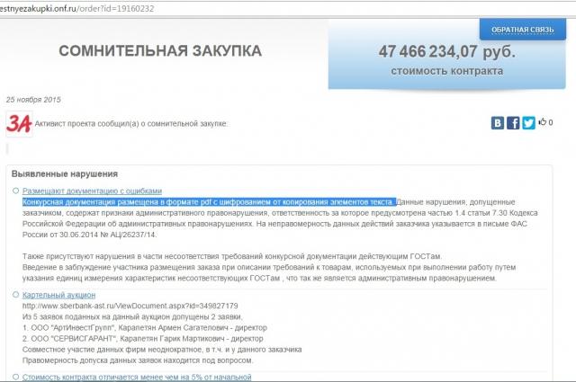 Сообщение о предполагаемом нарушении. Скриншот с сайта https://zachestnyezakupki.onf.ru/.