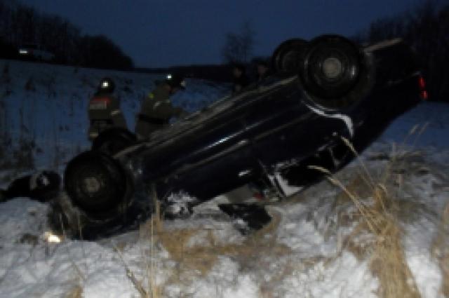 автомобиль в кювете, авария в Красноармейском районе
