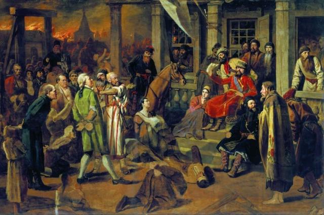 Василий Перов, «Суд Пугачёва» (вариант), 1875. Государственный исторический музей (Москва).