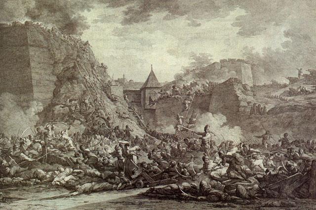Штурм Очакова. Гравюра А. Берга 1792 г.