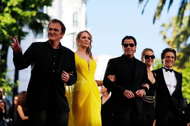 Съемочная группа фильма «Криминальное чтиво» на премьере в Каннах.
