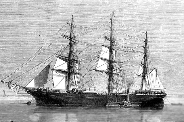 Корабль 19 века, гравюра.