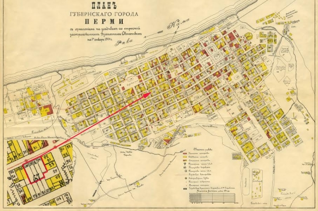Карта Перми 1914 года