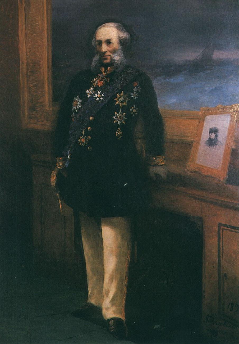 Портрет Айвазовского с орденами и звездами.
