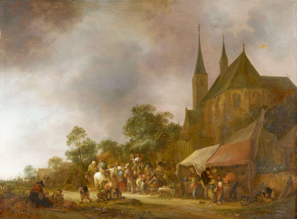 «Деревенский рынок с церковью на заднем плане»