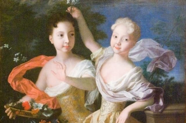 Портрет царевен Анны Петровны и Елизаветы Петровны. Луи Каравак, 1717 год.