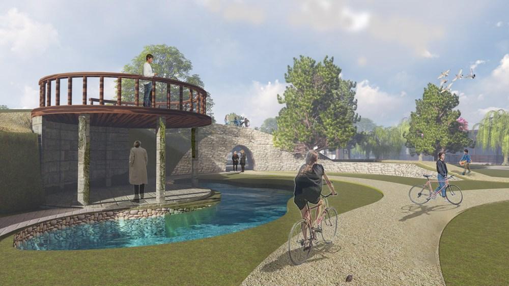 В парке будут предусмотрены искусственные водоёмы.