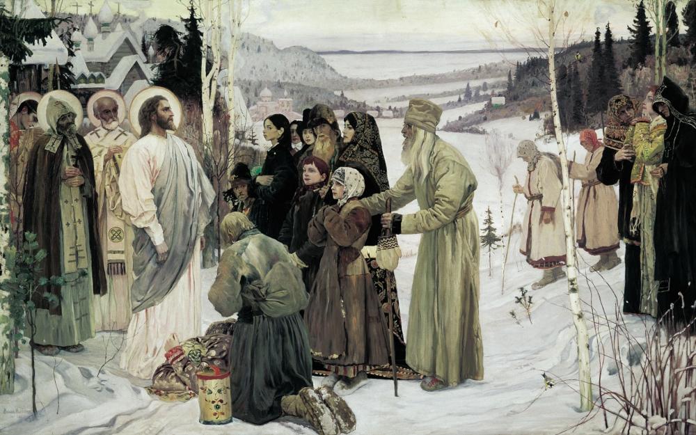 Михаил Нестеров писал картину «Святая Русь» шесть лет, внося изменения в композицию, цвет и переписывая фрагменты.