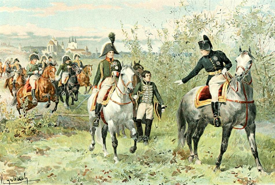 Наполеон и Александр I на конной прогулке в окрестностях Эрфурта. Барон Фелициан Мирбах-Рейнфельд