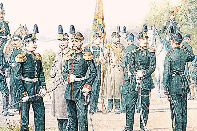 «Офицеры и нижние чины Первой гренадерской дивизии». 1874 г. Фрагмент картины Петра Балашова.