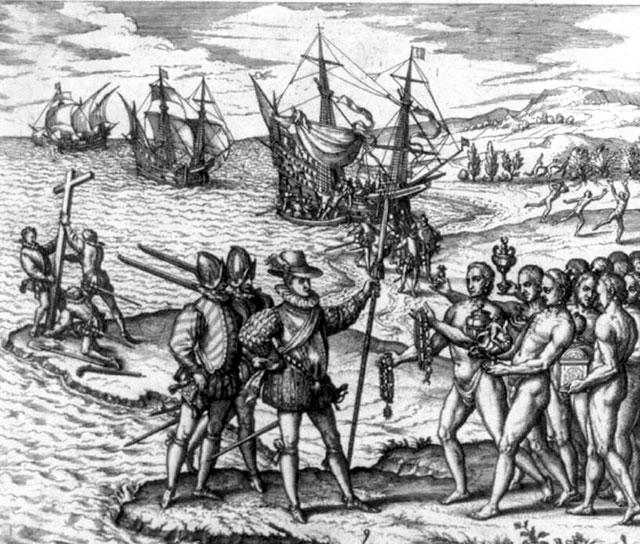 Христофор Колумб высаживается на острове Эспаньола, 1492 год.