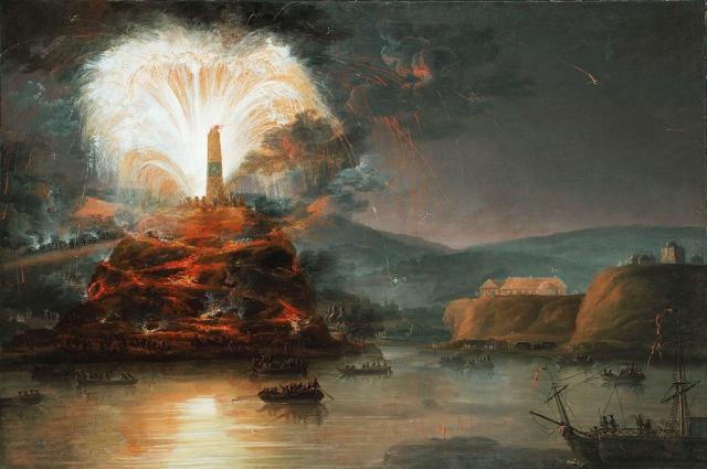 Фейерверки в честь Екатерины во время её путешествия в Крым. Картина неизвестного художника, конец XVIII века