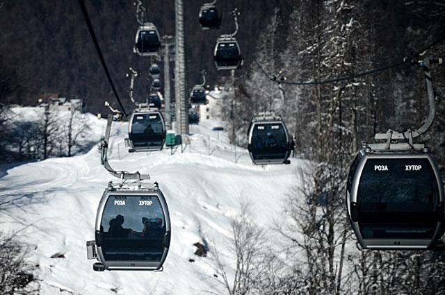 Канатная дорога рядом с главной горной олимпийской деревней на территории горнолыжного курорта Роза Хутор в Сочи