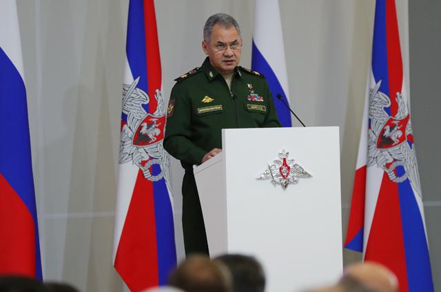 Министр обороны РФ Сергей Шойгу на расширенном заседании коллегии министерства обороны.