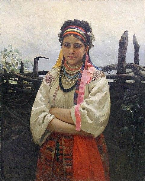 Украинка у плетня
