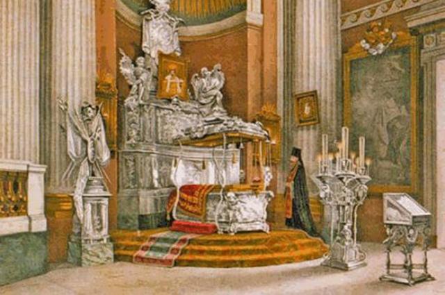 Вид раки с мощами Св.Александра Невского. 1890. Литография.