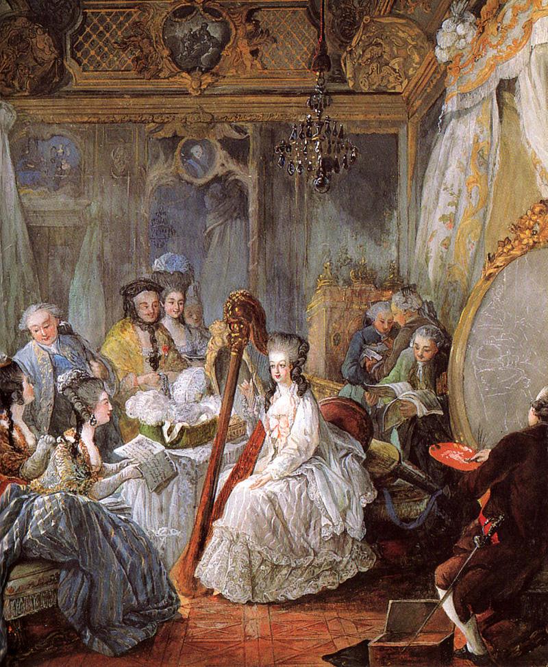 Мария-Антуанетта играет на арфе