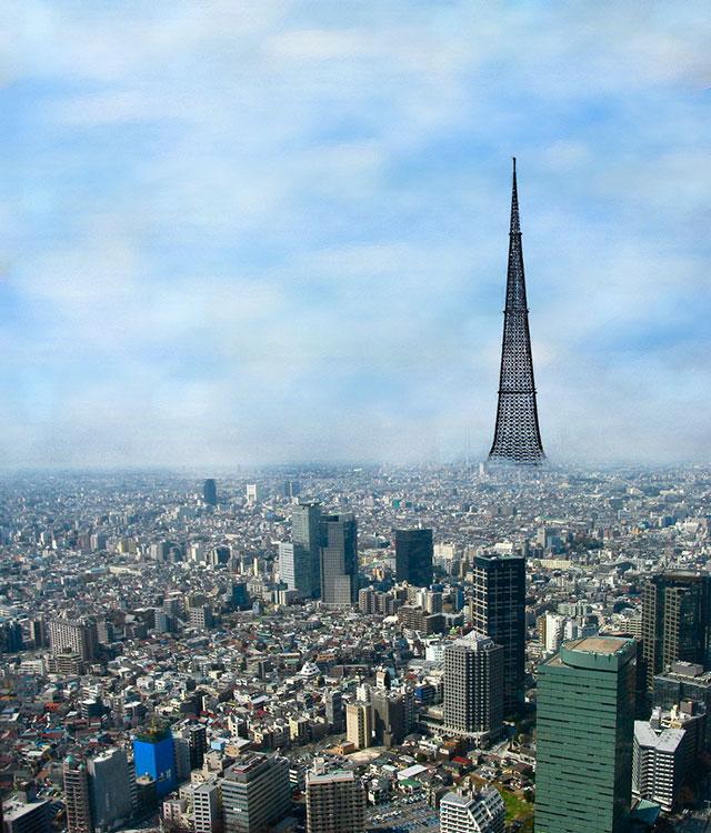 Проект четырёхкилометровой башни Н. В. Никитина и В. И. Травуша в Токио (коллаж сделан с использованием реального чертежа башни).