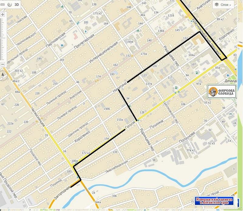 Схема маршрута автобусов изменится