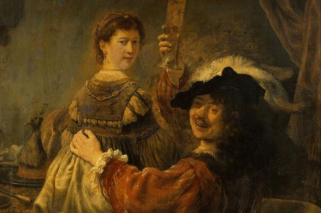Картину «Блудный сын в таверне» принято считать семейным портретом художника с супругой.
