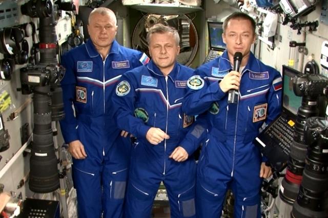 Космонавты Международной космической станции.