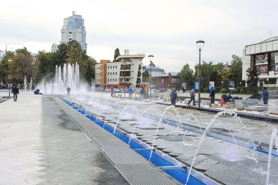 На Советской площади будут работать первые  в Воронеже «сухие»  фонтаны.