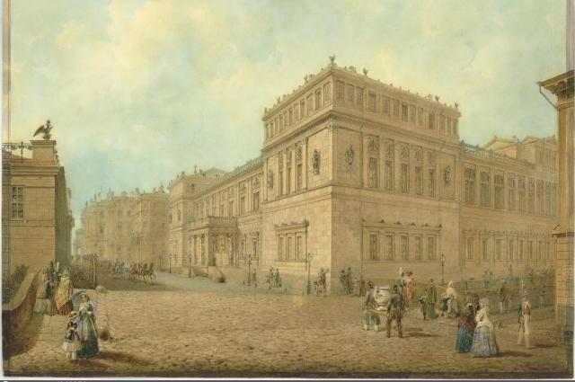 Новый Эрмитаж со стороны Миллионной улицы (1850). Бумага на картоне, акварель, белила, тушь, перо; 30,5х41,5