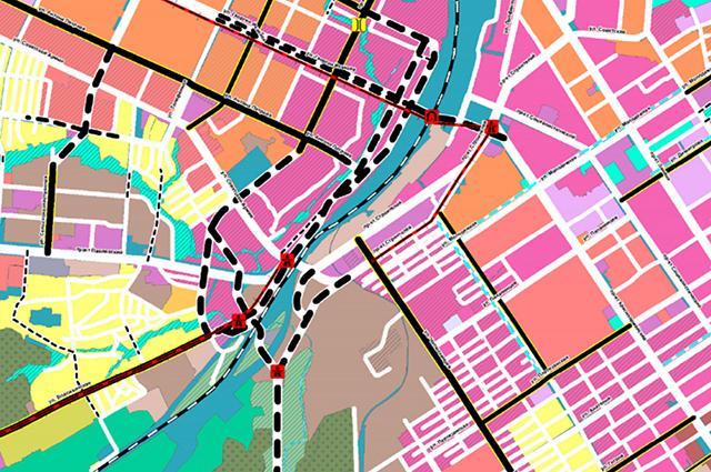 Генплан Барнаула. Проект трамвайной линии выделен красным