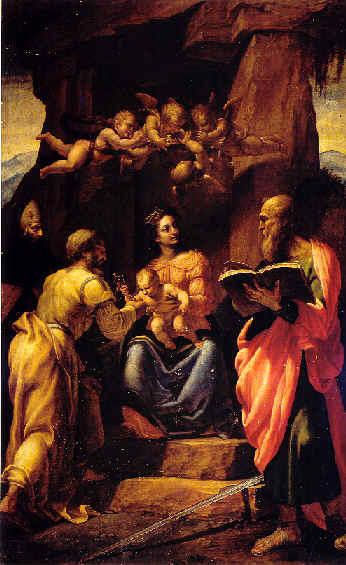 Джованни Паоло Ломаццо. Богородица, Младенец Иисус и святые.