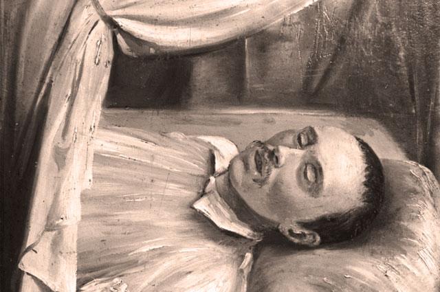 Репродукция рисунка Р. Шведе М. Ю. Лермонтов на смертном одре, 1841 г