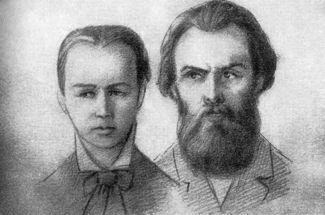 А. Желябов и С. Перовская в суде на процессе первомартовцев.