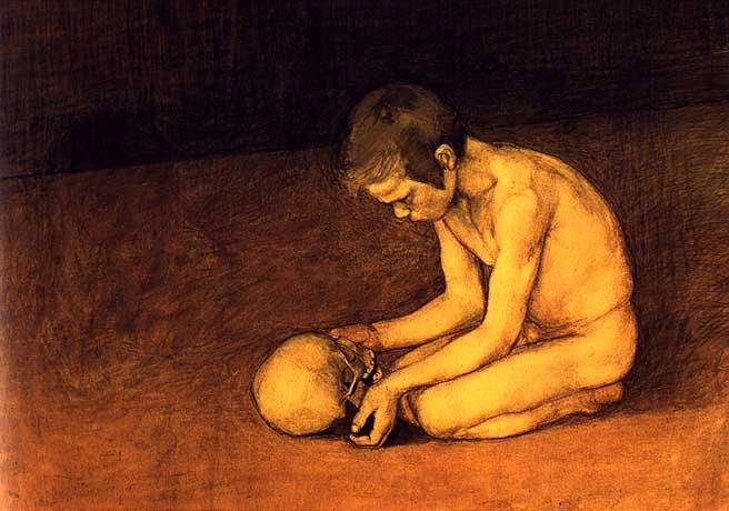 Магнус Энкель. Мальчик с черепом.