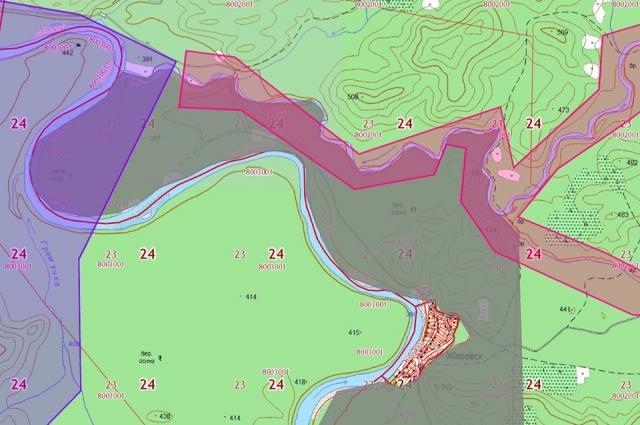 На карте – природный заказник отмечен серым, территория лицензионных участков розовым и фиолетовым.