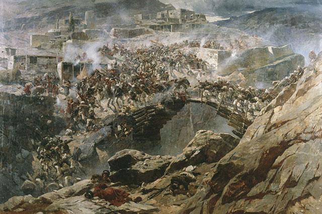 «Штурм аула Ахульго», Франц Рубо.