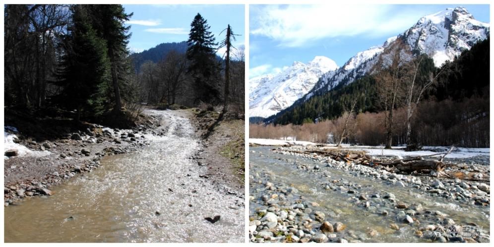 Путь к водопадам местами пролегает по каменистому руслу горной речки: непромокаемая обувь необходима