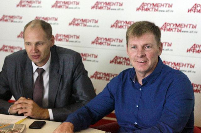 Министр спорта Приангарья Илья Резник и бобслеист, олимпийский чемпион Александр Зубков.