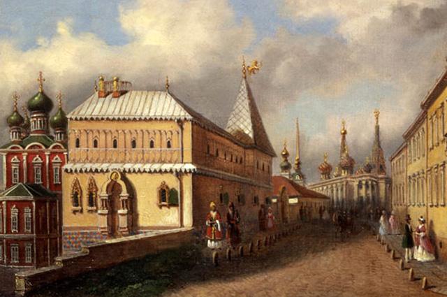 Картина неизвестного художника Улица Варварка в 1830-е - 1840-е г