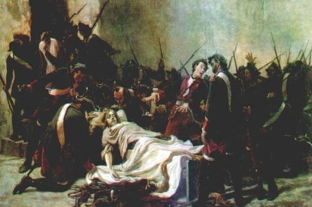 Мирович перед телом Ивана VI. Картина Ивана Творожникова (1884).