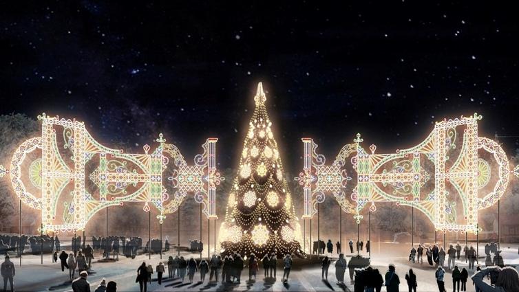 Световое панно на площади имени Орджоникидзе.