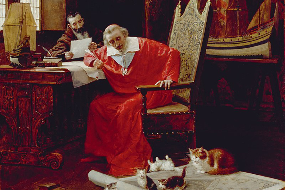 «Ришельё и его кошки», картина Шарля Эдуара Дело.